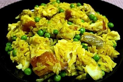 Räucherfisch mit Curryreis