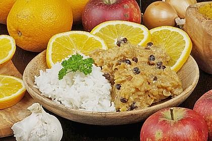 Indisches Hähnchencurry mit Früchten