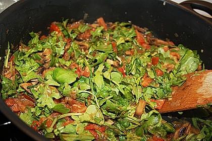 Schnelle Champignon - Tomaten - Rucola - Pfanne 4