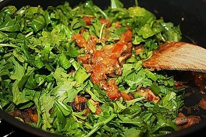 Schnelle Champignon - Tomaten - Rucola - Pfanne 7