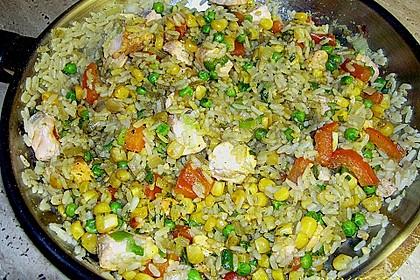 Gemüse - Reis - Pfanne mit Lachs 1