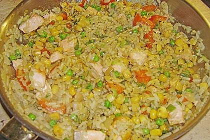 Gemüse - Reis - Pfanne mit Lachs 3