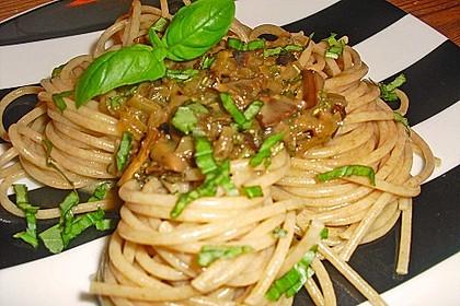 Pilzragout auf Vollkornspaghetti
