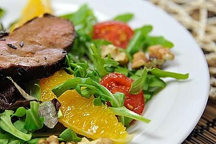 Gemischter Blattsalat mit Entenbrust a l´ Orange