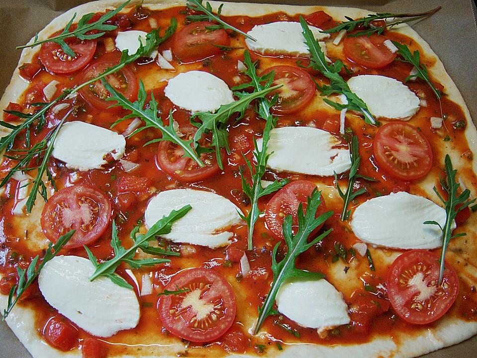 pizza tomate rucola rezept mit bild von sandybeach. Black Bedroom Furniture Sets. Home Design Ideas
