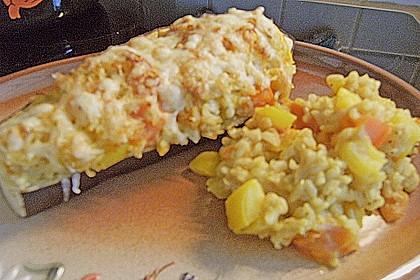 Aubergine mit Reisfüllung und Käsekruste 7