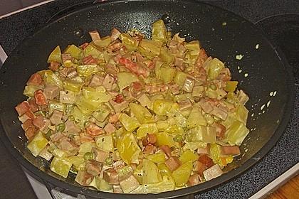 Schnelle Leberkäse - Kartoffel - Gemüse - Pfanne 2