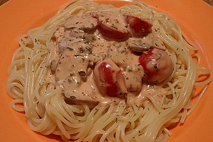 Champignon - Käse - Sauce auf Spaghetti 2