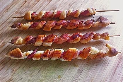 Gegrillte Teigspieße mit Bacon und Knoblauch 3