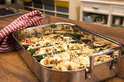 Zucchini mit Hackfleisch - Reis - Füllung