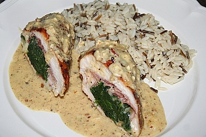 Hähnchenbrust mit Käse - Spinat - Füllung 1