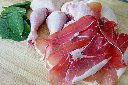 Hähnchenkeulen in Weißwein mit Serranoschinken und Salbei 9