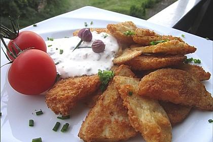 Kohlrabi paniert/gebacken mit Kräutersauce 4