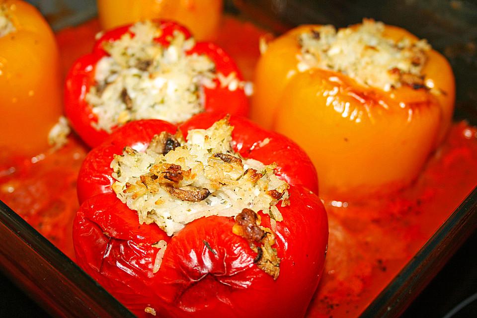 rezept backofen gef llte paprika rezept vegetarisch. Black Bedroom Furniture Sets. Home Design Ideas
