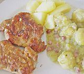 Schweinefilet auf Süßkartoffelpüree mit Lebkuchenjus und Rosenkohl (Bild)