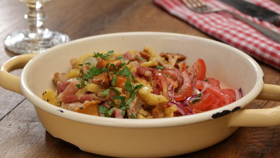 Sommergerichte Mit Schweinefleisch : Spätzlepfanne mit pfifferlingen speck und filetspitzen von