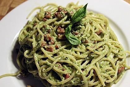 Spaghetti mit Basilikum - Carbonara 2
