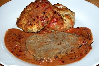 Rinderbraten mit Rosa Beeren - Sahne - Sauce
