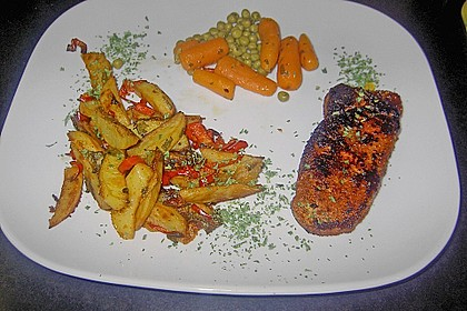 Kartoffelspalten mit Honig - Senf - Marinade 4