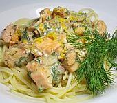 Spaghetti mit Lachs und Zitronensoße