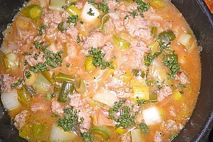Hackfleisch - Lauch - Soße mit Reis