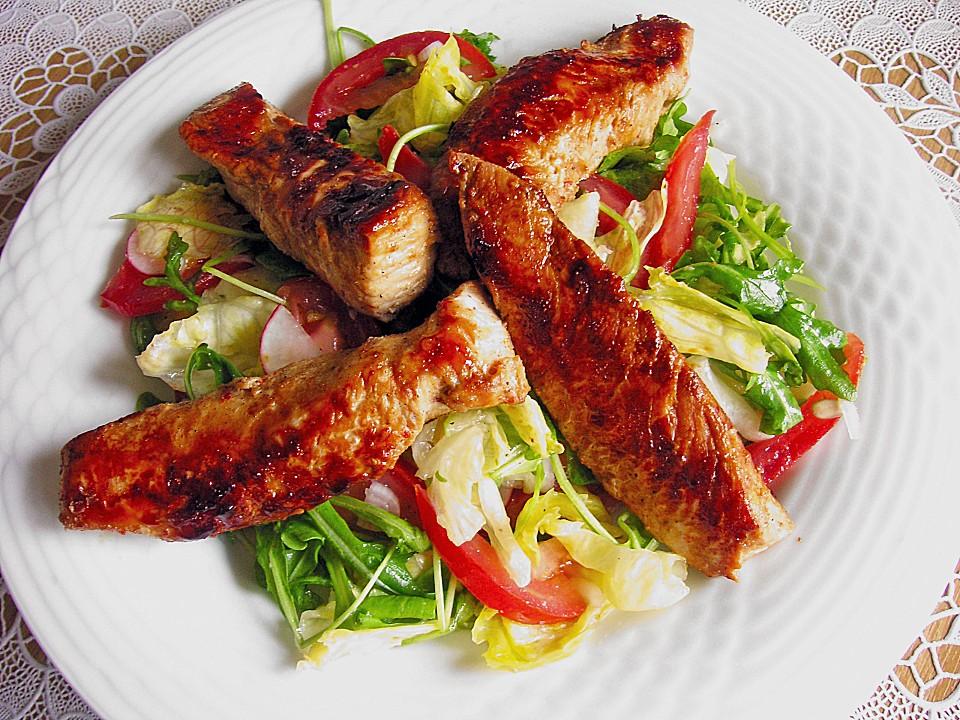 Leckere salate putenstreifen