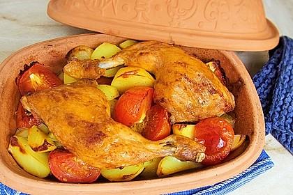 Hähnchen - Tomaten - Zwiebel - Kartoffel - Topf