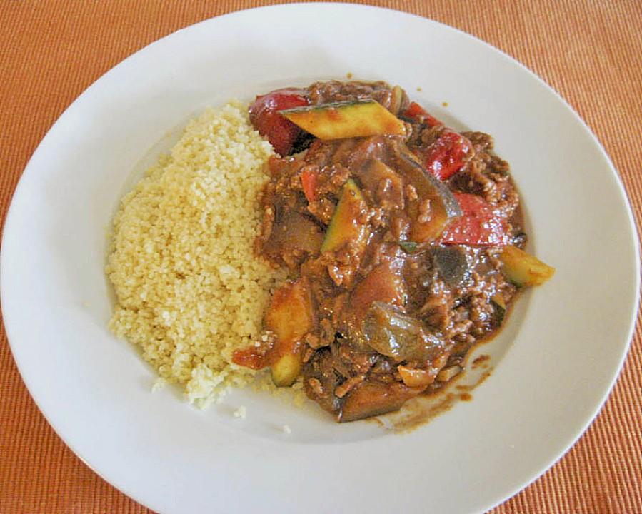 Arabische hackfleisch gem se pfanne mit couscous for Kochen mit hackfleisch
