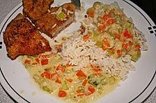 Putenschnitzel in Zucchini-Karotten Sauce
