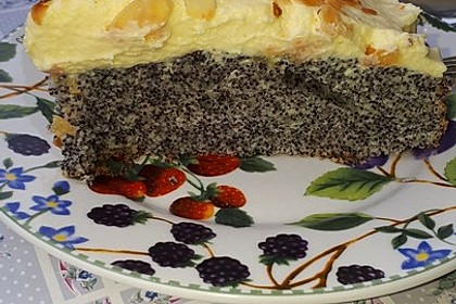 Illes super schneller Mohnkuchen ohne Boden mit Paradiescreme und Haselnusskrokant 29