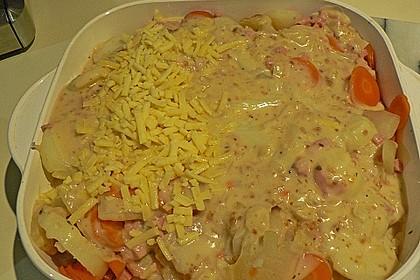 Kartoffel - Kohlrabi - Auflauf mit gekochtem Schinken 8