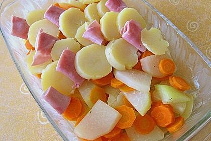 Kartoffel - Kohlrabi - Auflauf mit gekochtem Schinken 5