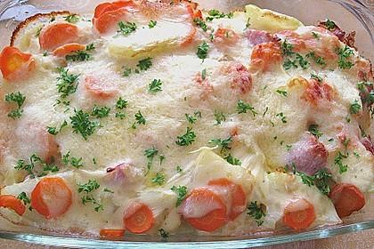 Kartoffel-Kohlrabi-Auflauf mit gekochtem Schinken 3