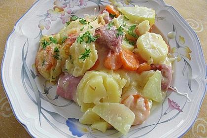 Kartoffel - Kohlrabi - Auflauf mit gekochtem Schinken 0