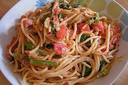 Nudeln mit Spinat - Thunfisch - Sauce 4