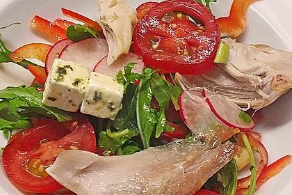 rucola salat mit oliven tomaten und schafsk se rezept mit bild. Black Bedroom Furniture Sets. Home Design Ideas