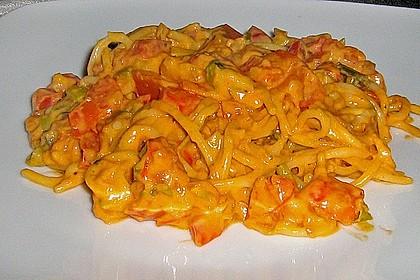 Spaghetti in cremiger Paprika - Tomaten - Frühlingszwiebel - Sauce 25