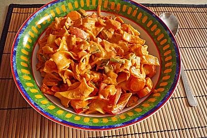 Spaghetti in cremiger Paprika - Tomaten - Frühlingszwiebel - Sauce 18