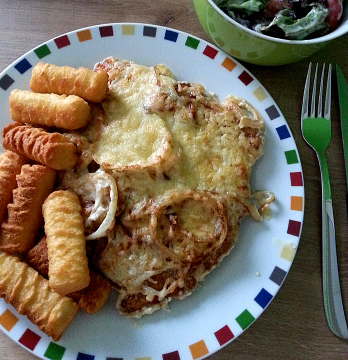 Überbackene Zwiebel   Sahne   Schnitzel