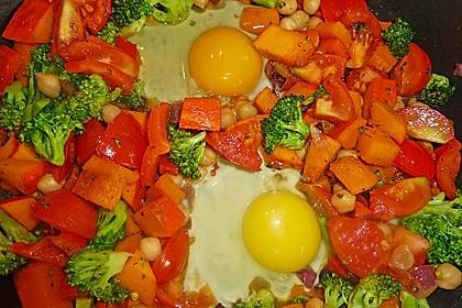 Gemüsepfanne mit Eiern und Käse 3