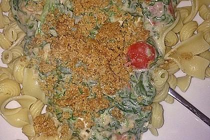 Nudeln mit Spinat, Tomaten und Hähnchen 2