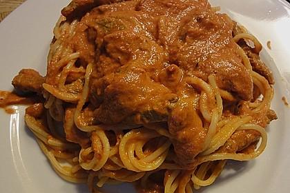 Schnelle Spaghetti mit Rouladenstückchen 0