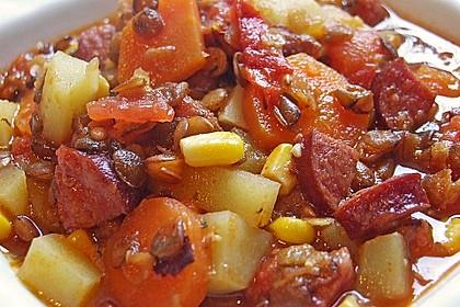 Linsen-Gemüse-Kartoffel-Topf mit Putenfleisch