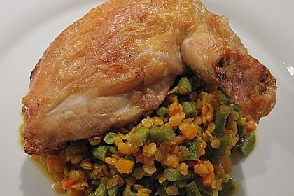 Tandoori - Hähnchen mit rotem Linsen - Schlangenbohnen - Gemüse