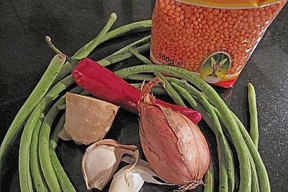 Tandoori - Hähnchen mit rotem Linsen - Schlangenbohnen - Gemüse 4