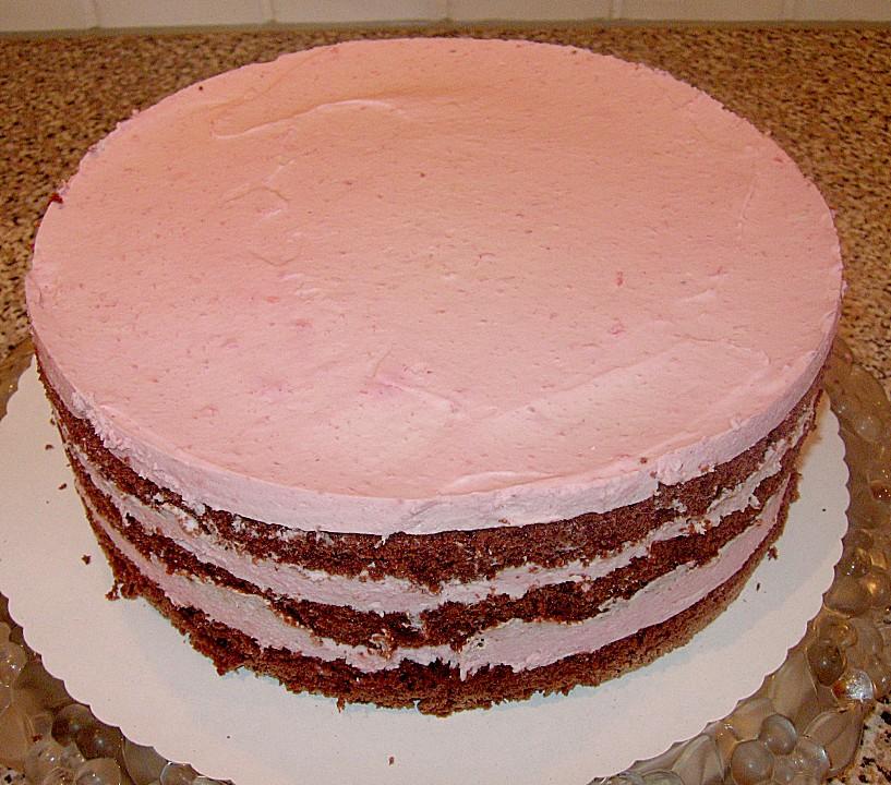 Himbeer sahne torte mit biskuit