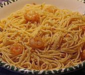 Spaghetti aglio e olio mit Knoblauchgarnelen (Bild)