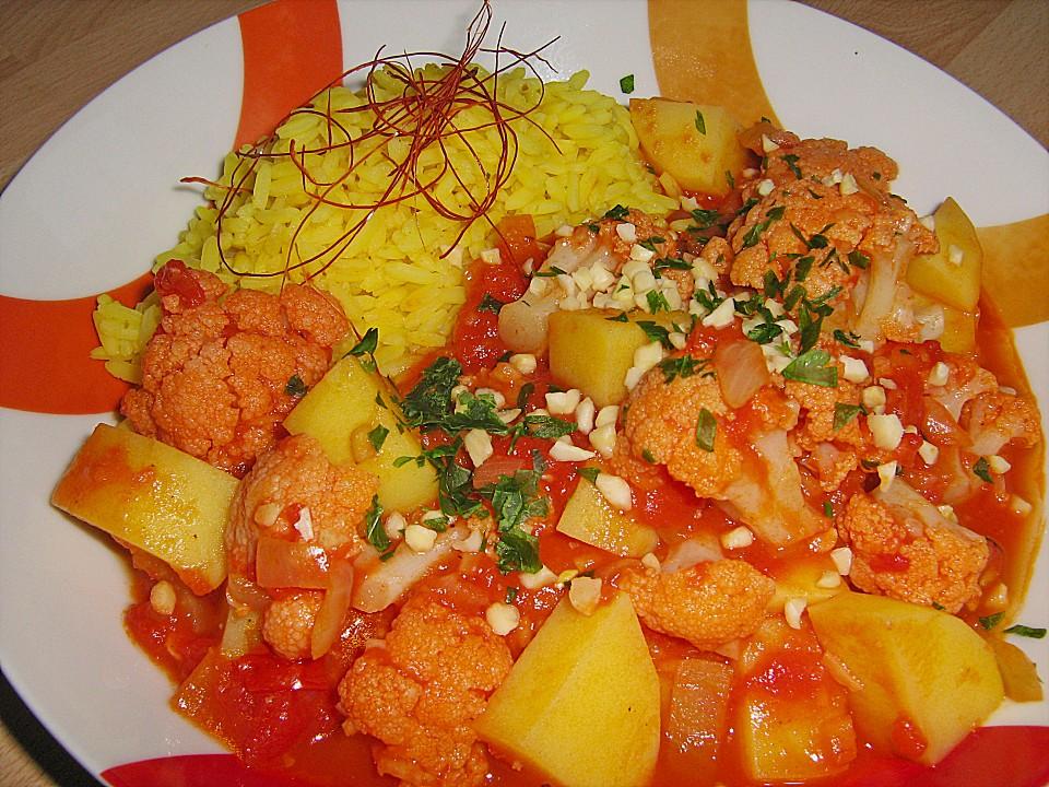 Vegetarisches indisches Blumenkohl - Tomaten - Curry (Rezept mit ...
