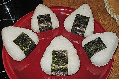 Onigiri mit Lachs und Hähnchen 11