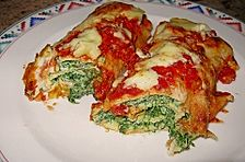 Pfannkuchen mit Ricotta-Spinat Füllung